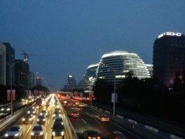 Peking på natten - området Wangjing