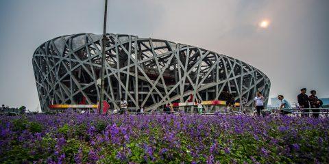 Pekings Nationalstadion från OS i Peking 2008. Även kallad fågelboet.