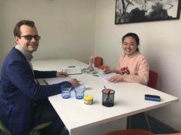 Har lektion i mandarin i Shanghai