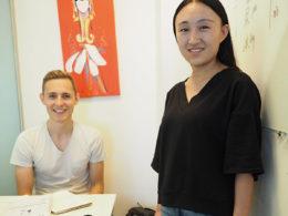 Läraren Monica och eleven Nicklas på LTL Peking