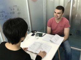 Dags för lektion i kinesiska i Shanghai