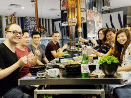 Middag med eleverna och personalen i Shanghai