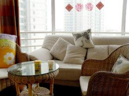 Vardagsrum i vår lägenhet i Peking